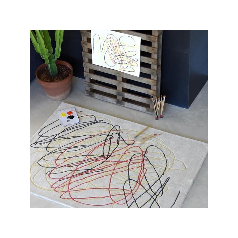 Tapis contemporain en laine Scribble Multicolore  par Lorena Canals