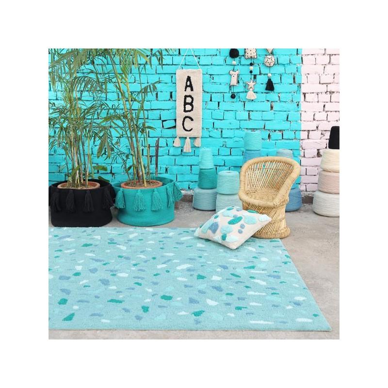 Tapis coton lavable en machine Terrazzo Emeraude par Lorena Canals