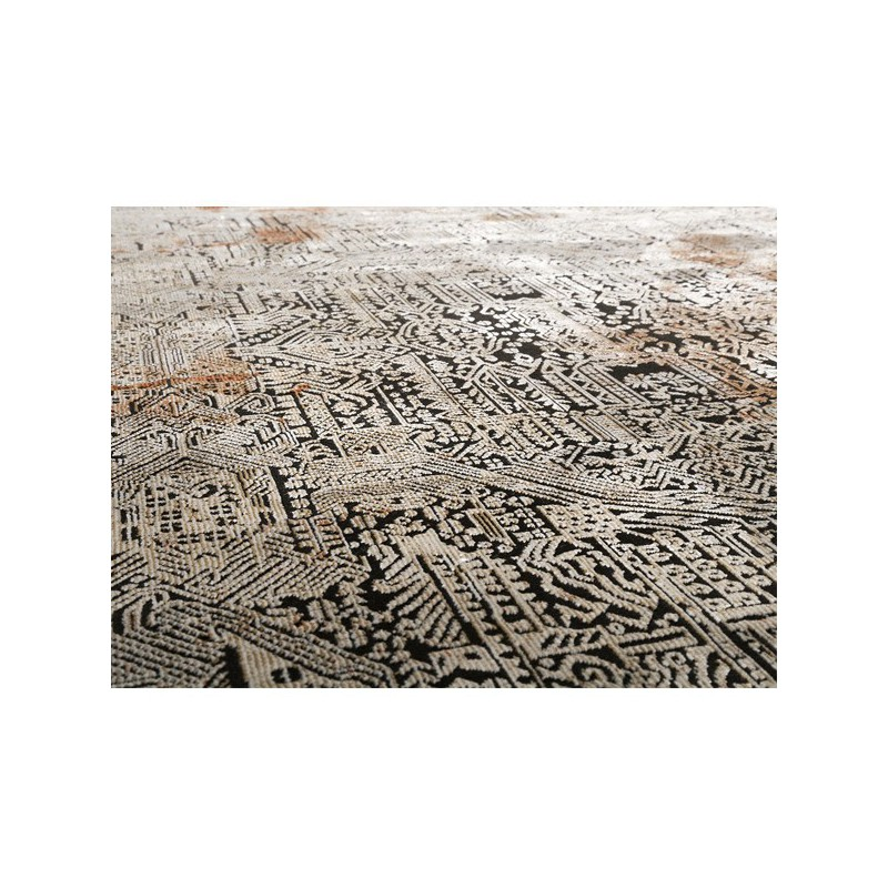 Marron Beige Court Velours Tapis tendance Rococo Motif Tapis CHIC salle de séjour tapis