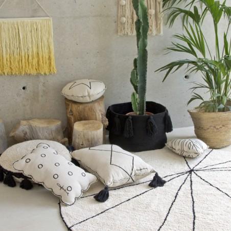 Tapis Moderne Trace Beige, lavable en machine par Lorena Canals