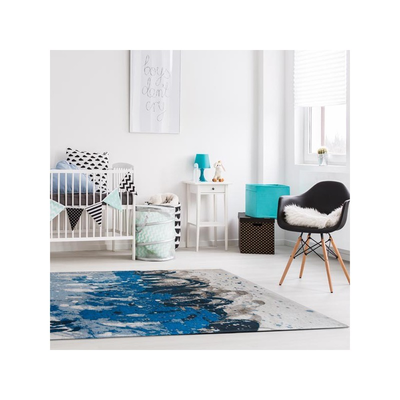 Tapis de salon design Atlantic Surf bleu par Louis de Poortere