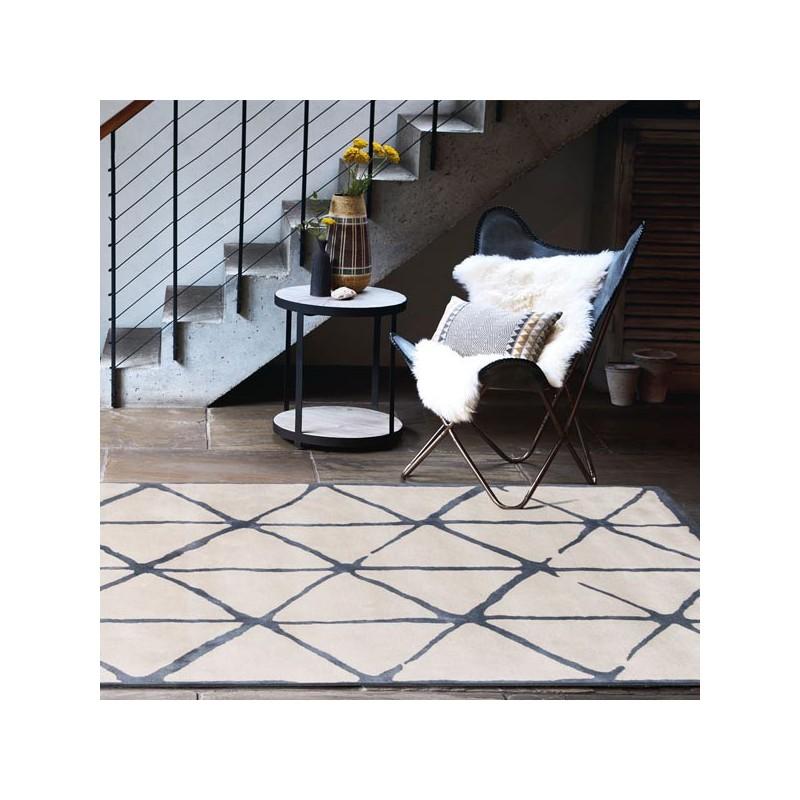 Tapis de salon design Villa Nova Haldon indigo par Louis De Poortere