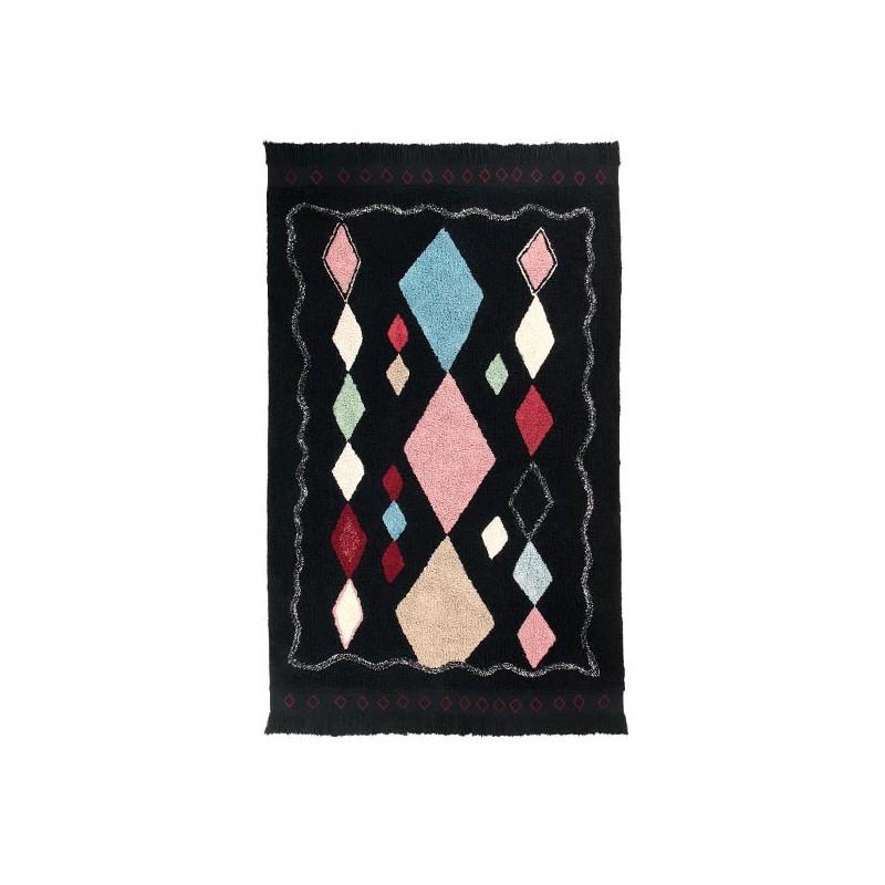 Tapis coton lavable design Morroco Meknes Noir par Lorena Canals