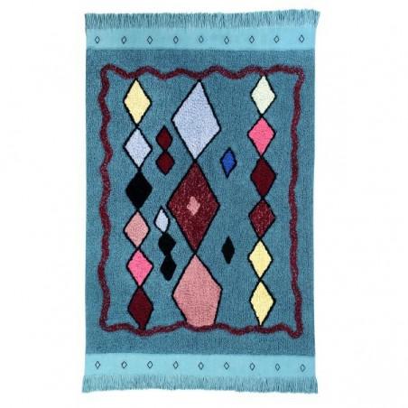 Tapis coton lavable design Morroco Draa bleu par Lorena Canals