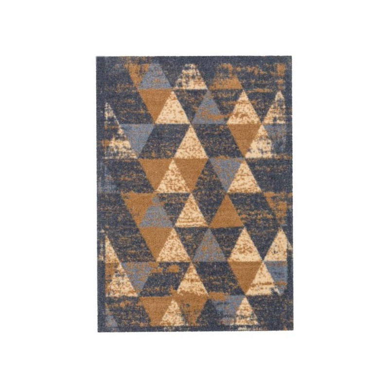 Tapis D Entree Lavable En Machine Miabella Motifs Triangles Beige