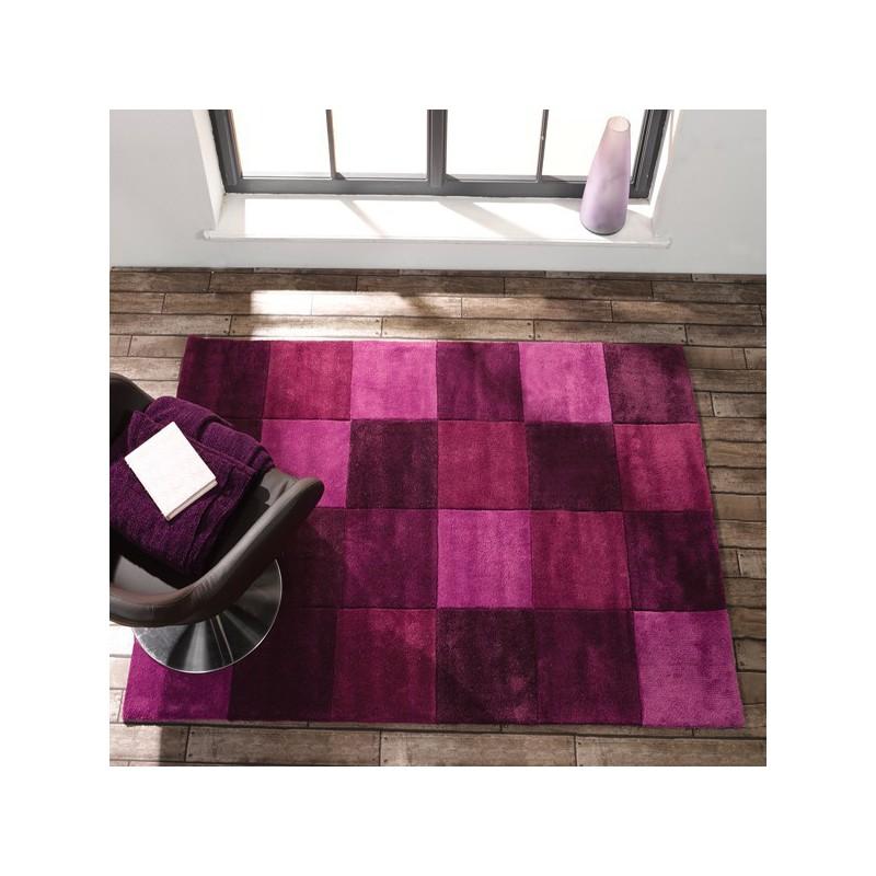 Tapis de salon moderne Squared Violet par Flair Rugs