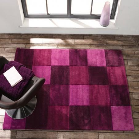 Tapis de salon moderne infinite Squared Violet par Flair Rugs