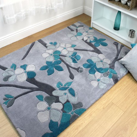Tapis de salon design Sakura Teal par Flair Rugs