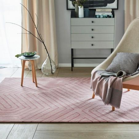 Tapis salon moderne raban rose poudr par esprit home - Salon rose poudre ...