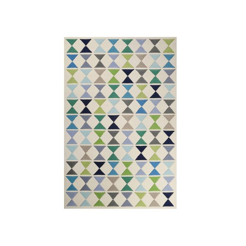 Tapis moderne graphique vert et bleu Mahan par Esprit Home