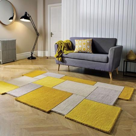 Tapis moderne Collage déstructuré en laine Ocre et Jaune par Flair Rugs