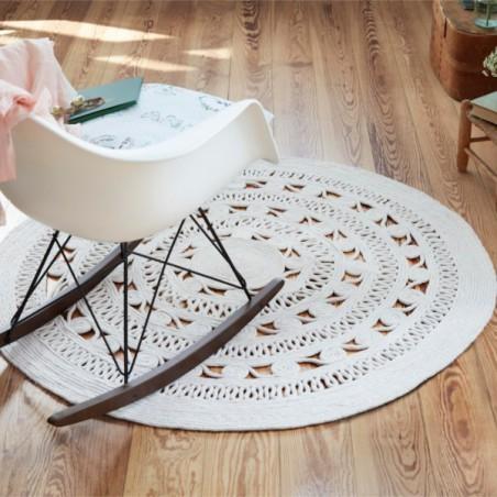 Tapis Tissé Main Crochet Style Blanc par Esprit Home