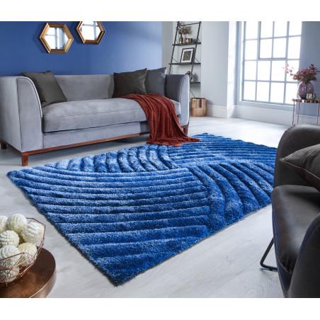 Tapis Design Furrow Bleu