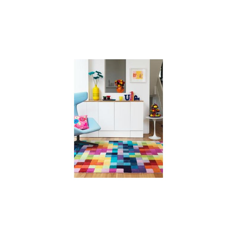 Tapis contemporain Auteuil box multicolore
