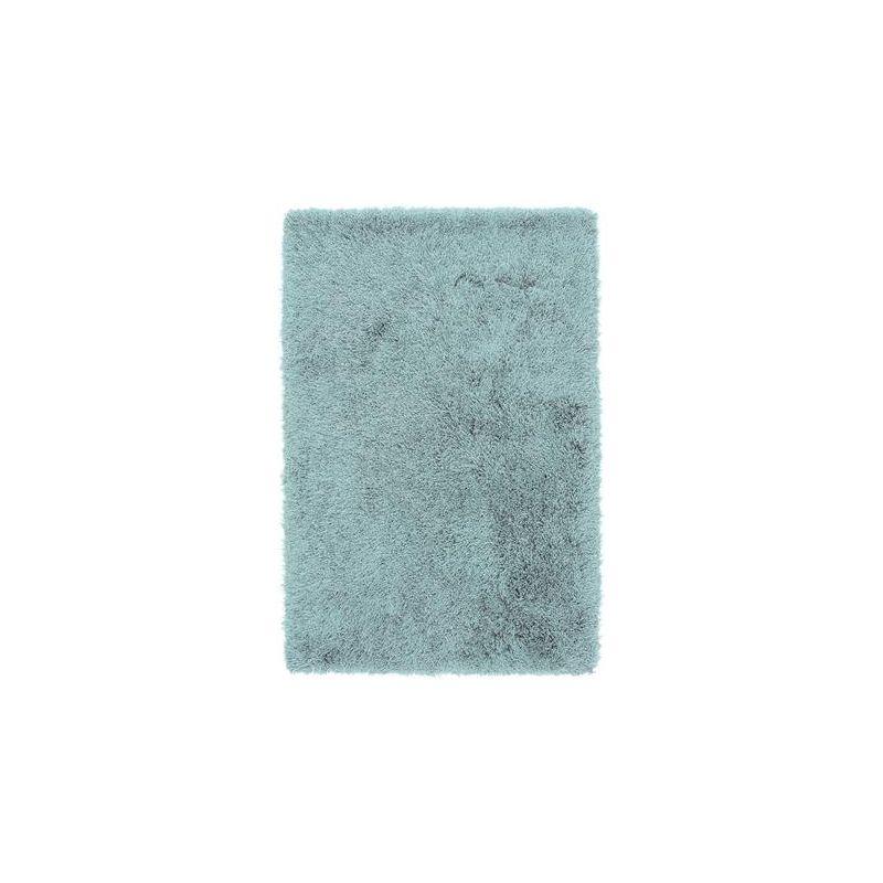 Tapis shaggy moderne uni bleu ciel Belleville
