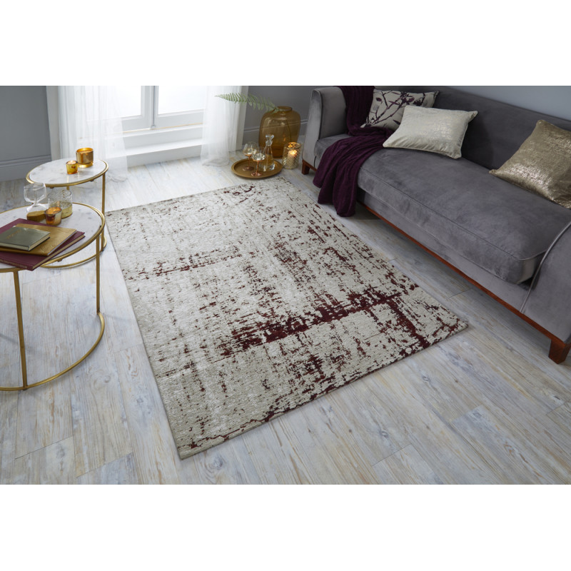 Tapis Rectangulaire Manhattan Carter Rouge Bordeaux
