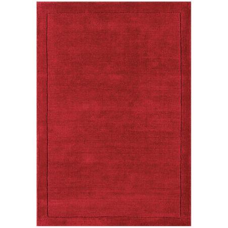 Tapis Contemporain Rouge en Laine Uni York Collection Grand Cru
