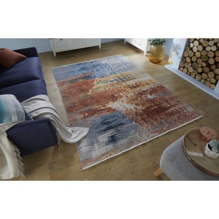 Tapis en fibres synthétique bleu
