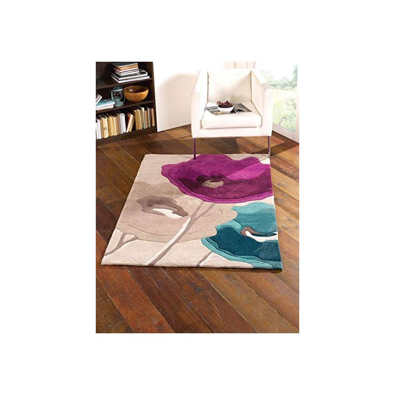 Tapis de Salon Fleurs Pop Violet et Bleu Canard