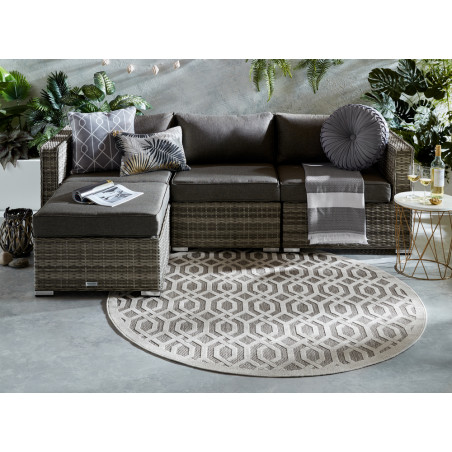 Tapis de salon Design Mondo Blanc Naturel Rond