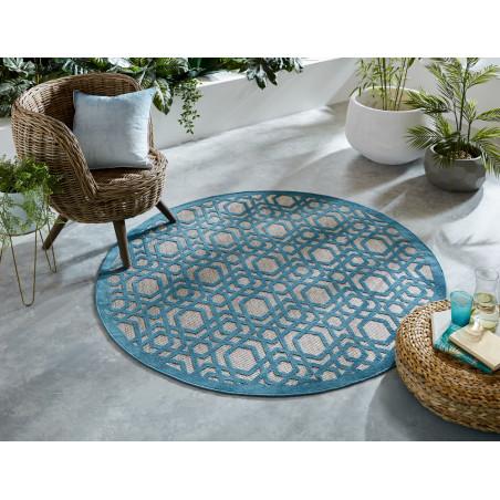 Tapis de salon Design Oro bleu et beige Rond