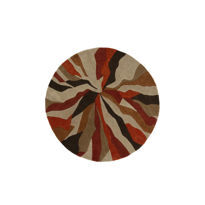 Tapis de salon polyester Design Infinite Orange Rond