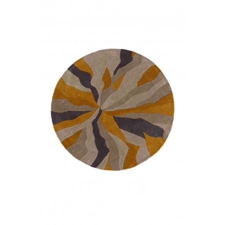 Tapis de salon polyester Design Infinite Ochre Rond
