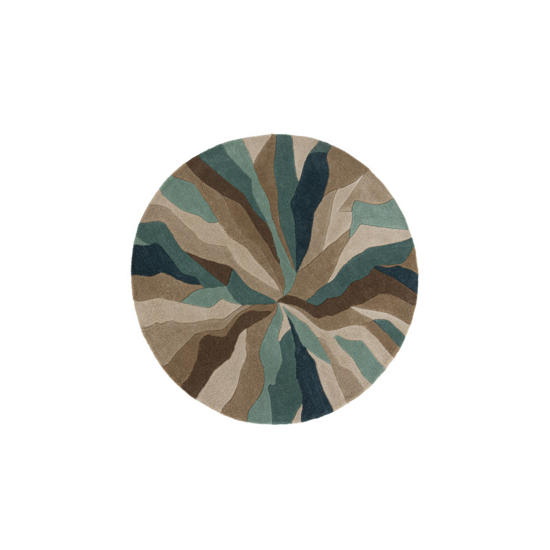 Tapis de salon polyester Design Infinite Bleu canard Rond