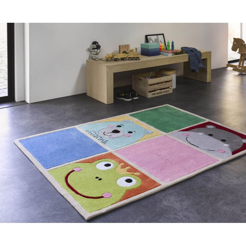 Tapis de chambre tufté main en polyester What's up multicolore vif