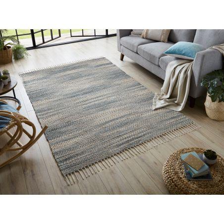 Tapis Indoor/outdoor en jute et coton Asella Kobo bleu