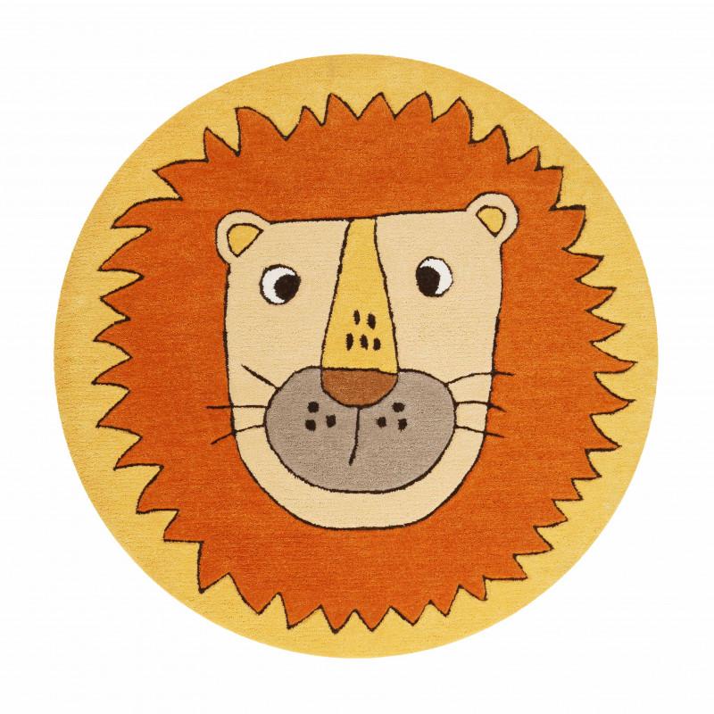 Tapis d'enfant en polyester Tête de lion orange et jaune