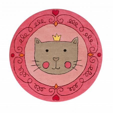 Tapis d'enfant rond en polyester Tête de chat rose et gris
