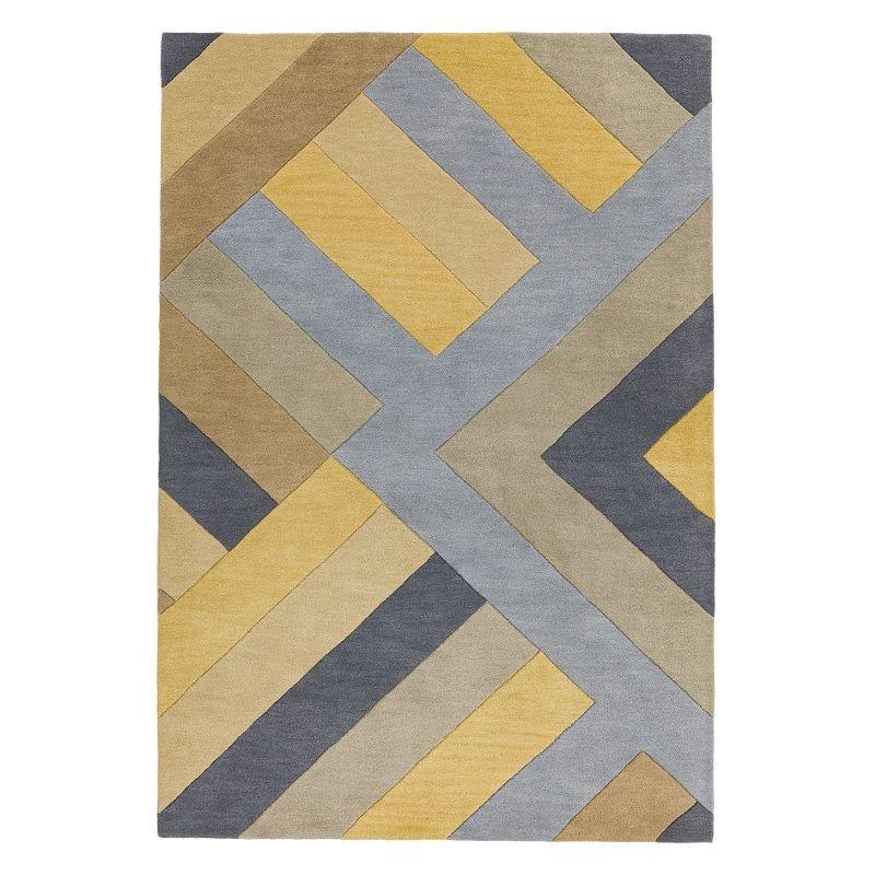 Tapis moderne à motifs géométriques 100% laine ocre et gris Montparnasse