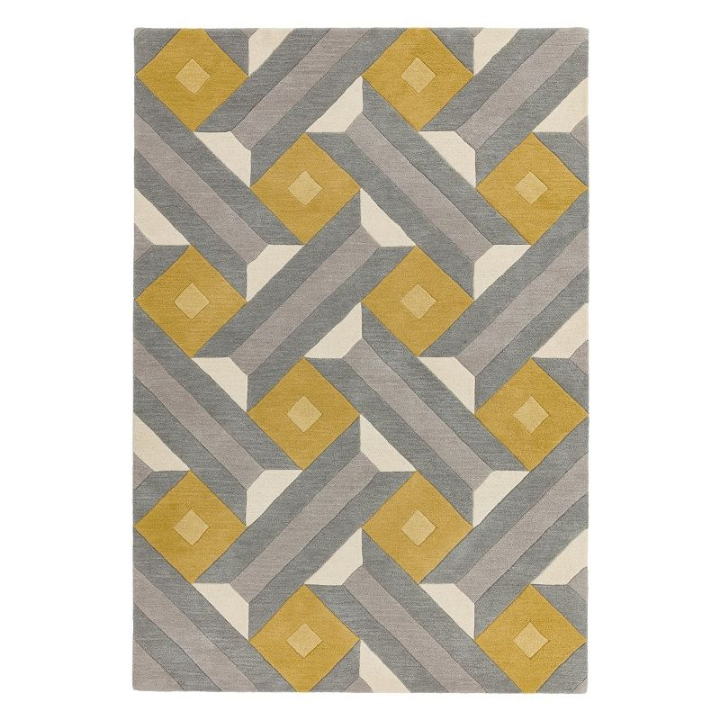 Tapis de salon moderne pure laine tuftée main ocre et gris Ternes