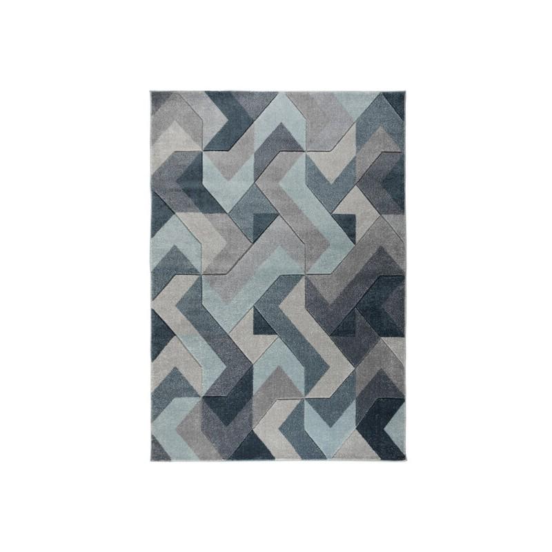Tapis Design Géométrique Aurora Bleu