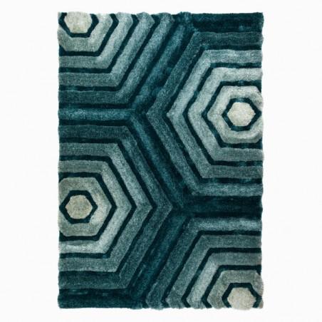 Tapis Design Hexagon Bleu Canard