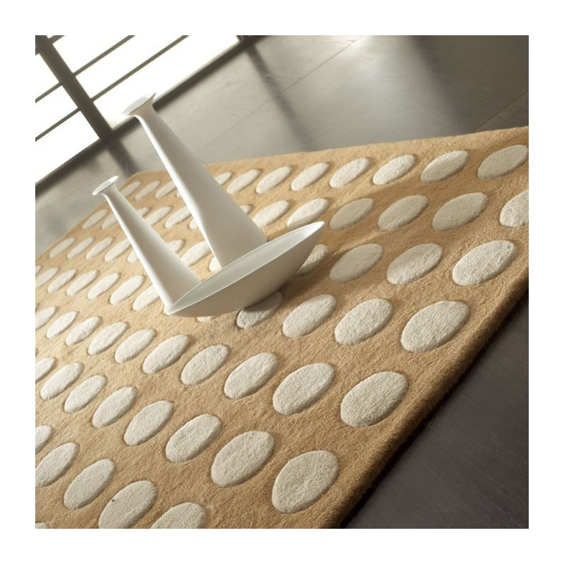 Tapis Design Pompons Marron et Beige par Carving