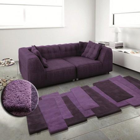 Tapis Contemporain Pebbles par Angelo violet en laine