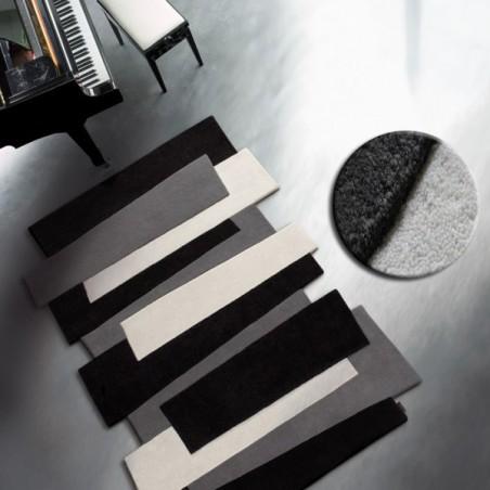 Tapis Contemporain Pebbles par Angelo noir et gris 170 x 240 cm