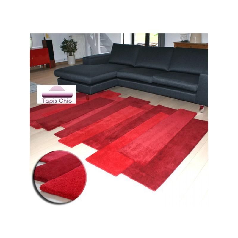 Tapis Contemporain Pebbles par Angelo rouge en laine