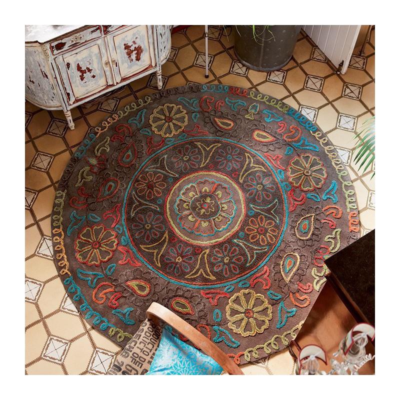 Tapis Rond Taupe Mandala par Esprit Home