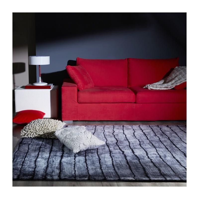 tapis en viscose tie and dye gris par dhf. Black Bedroom Furniture Sets. Home Design Ideas