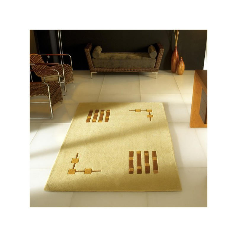 Tapis Contemporain Field Gold beige par Carving