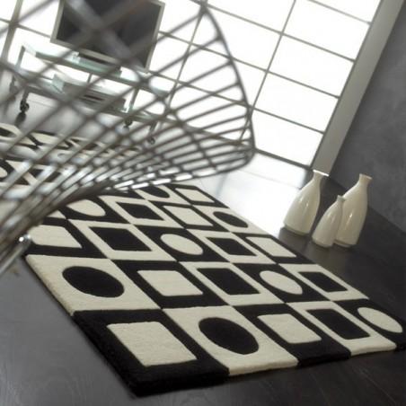 Tapis Contemporain Simbols noir et blanc en laine par Carving
