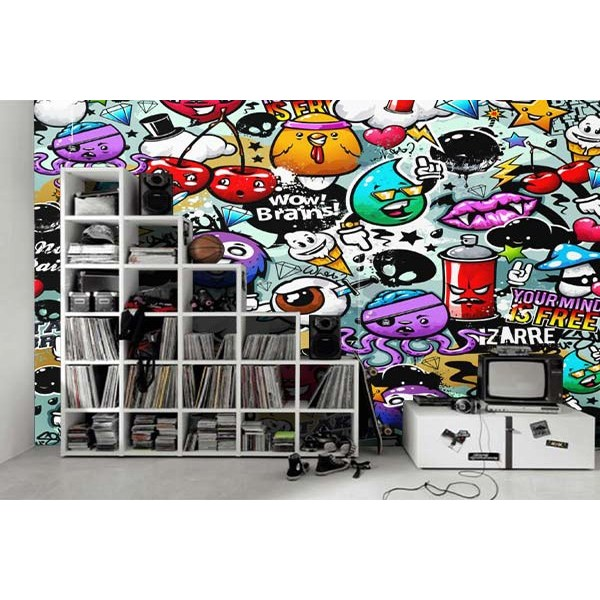 papier peint design graffiti personnages tapis chic le blog tapis chic le blog. Black Bedroom Furniture Sets. Home Design Ideas