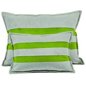Coussin gris à bandes vertes sur Tapis-Chic.com