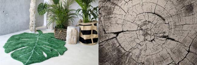 Tapis Feuille Monstera Coton par Lorena Canals et Tapis Moderne Imitation Bois par Wecon Home